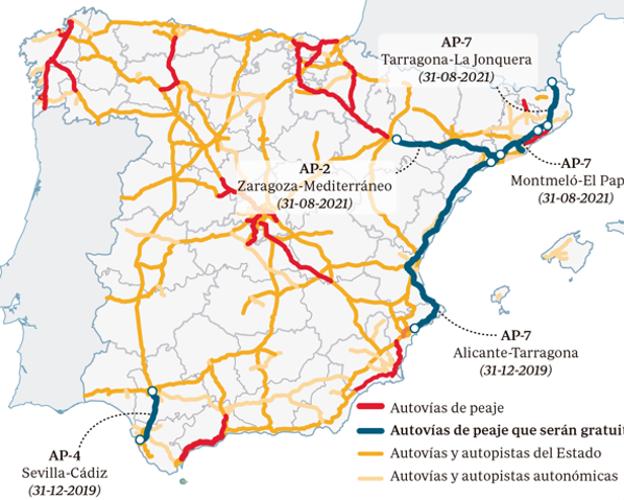 Los nuevos tramos de autopistas de peaje que serán gratis a partir deseptiembre