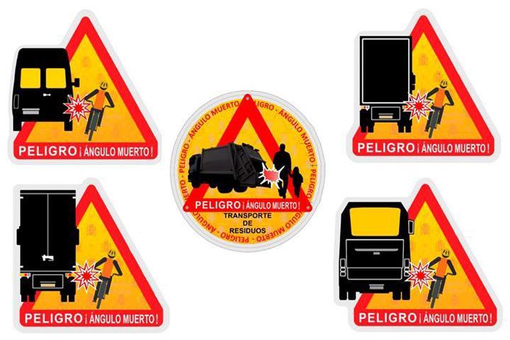 Nueva señalización para informar de losángulos muertos del camión, autobús ofurgoneta.